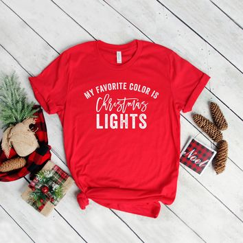My Favorite Color is Christmas Lights Graphic Tee