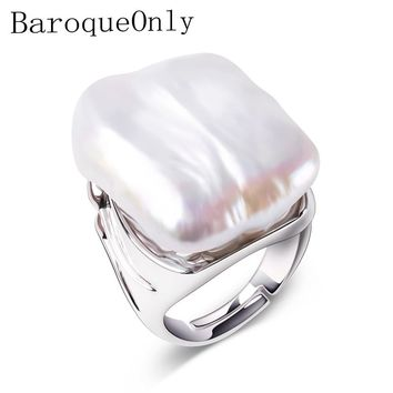 BaroqueOnly Adjustable Rings For Women 925 Sterling Silver Jewelry Natural White Baroque Pearl Jewelry women Gifts 22-25mm
