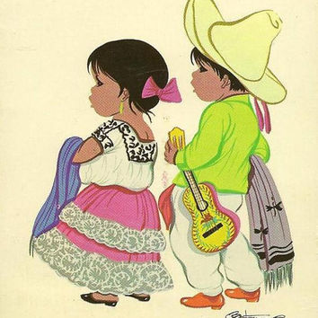 Mexican Children in Ethnic Dress Mexico Tipico on vintage postcard 1968 with Mexico C340 Olympic Air Mail stamp