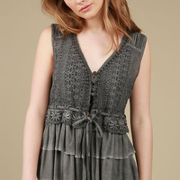 Floral Lace Detailed Tiered Ruffle Cardigan - Charcoal