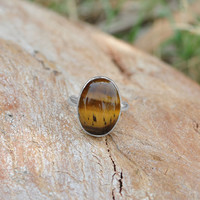 Classic Design Ring Tiger Eye Gemstone Silver,Crystals,Bronze,Jewelry,Gift,Holiday,Handmade Jewelry,Free Shipping