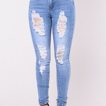 Fantasea High Rise Jeans - Light Blue