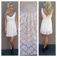 Ivory Lace Sleeveless Babydoll Dress