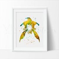 Jirachi, Pokemon Watercolor Art Print