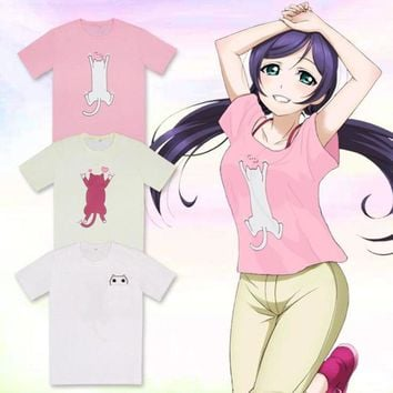 Anime Love Live! Cosplay Costume Nozomi Tojo Yazawa Nico Cute Cat Printed Short Sleeve T-shirt Summer Casual Tops Tee Shirts