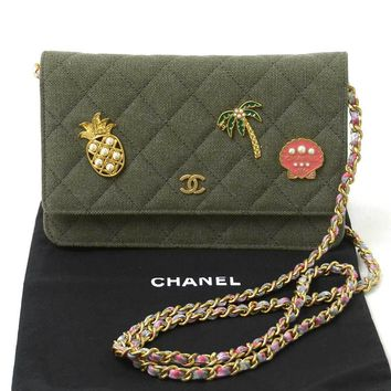 Auth CHANEL 2017 Cruise Charms Wallet on Chain Shoulder Bag Khaki Green - 93327