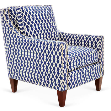 Colleen Club Chair, Navy/White, Club Chairs