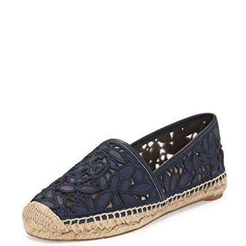 Tory Burch Leather Rhea A-Line Espadrille (8.5, Bright Navy)