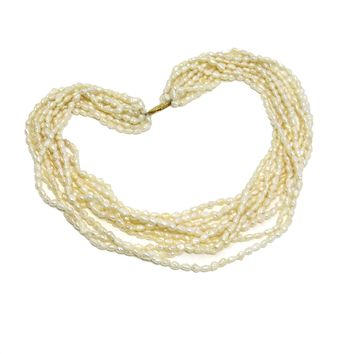 Multi-Strand Baroque Pearl Gold Choker Necklace, Vintage, 1930s to 1980s