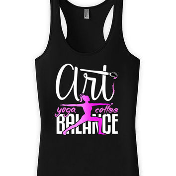 Funny Yoga Tank Art Yoga Coffee Balance Art Gifts Racerback Tank American Apparel Art Teacher Yoga Clothing Coffee Gifts Womens Tanks WT-162