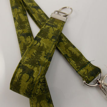 Moose Lanyard Animal Lanyard Teacher Lanyard Nurse Lanyard Forest Lanyard Moose Evergreen Lanyard Moose Key Holder Green Lanyard