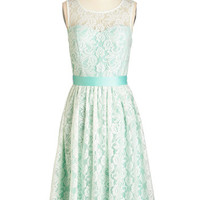 Vintage Inspired Long Sleeveless A-line Lacy in Love Dress in Mint