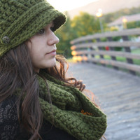 Crochet Hat and Scarf Set- Olive Green SAVE 8 DOLLARS
