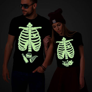 Glow in the dark, Halloween maternity shirts, Matching Halloween shirts, skeleton baby shirt, Halloween shirt, Baby girl, UNISEX