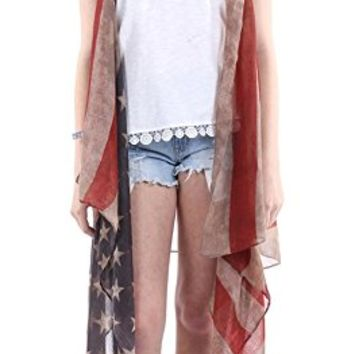 Distressed American Flag Long Sleeveless Vest CDF20002MLT