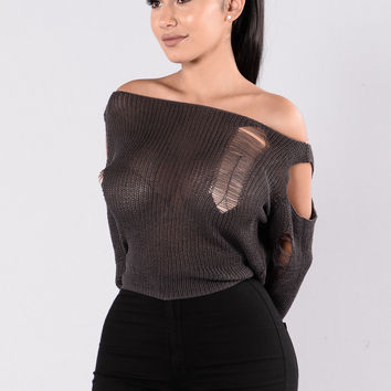 Keep The Spark Sweater - Charcoal