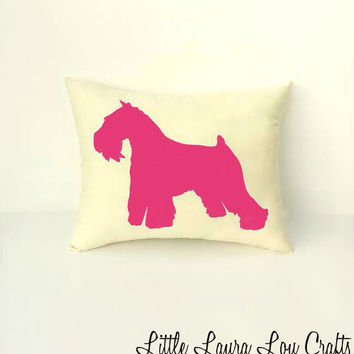 Bright Pink Schnauzer Dog Silhouette Throw Pillow, Decorative Pillow, Gift, Home Decor, Pets, Dog Pillow, Dorm Decor **FREE SHIPPING**