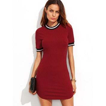 Striped Trim Ribbed Knit Dolphin Hem Dress