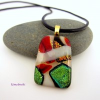 Holiday Celebration Handmade Dichroic Fused Glass Pendant- Green/Red