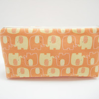 Elephant Cosmetic Bag, Elephant Accessory Pouch, Zippered Pouch, Cosmetic Pouch, Orange Elephant Pouch, Ready to Ship
