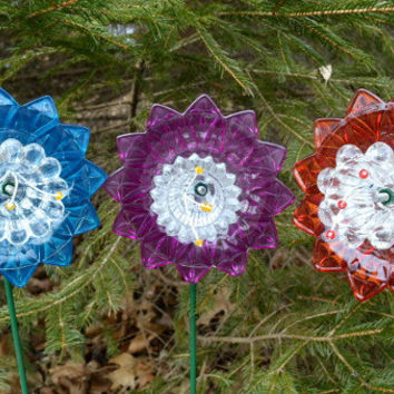 Set of Three, Garden Flower, Country Garden Decor, Spring Home Decor, Botanical Inspired, Yard Art, Gift For Gardener, Faux Flowers