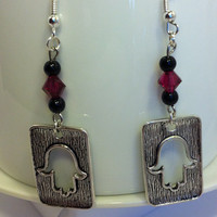 Hamsa dangle earrings with red and Black Swarovski crystals, original and unique, glass bead earrings, nickle-free earrings