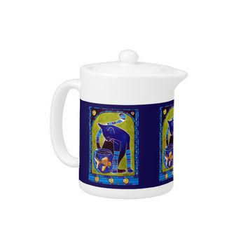 Blue Cat With Goldfish Whimsical Cat Art Teapot