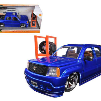 "2002 Cadillac Escalade EXT Blue ""Just Trucks"" with Extra Wheels 1-24 Diecast Car Model by Jada"