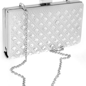 Your Party Shoes HB105 Silver Embellished Prom Hand Bag