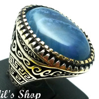 Men's Ring, Turkish Ottoman Style Jewelry, 925 Sterling Silver, Gift, Traditional Handmade, With Blue Agate Stone, Size 11.25