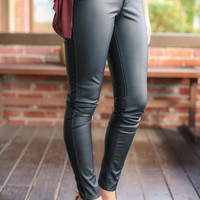 Nothing But Love Leatherette Pants - Black