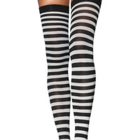 Plus Size Black and White Thigh High Stockings