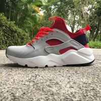 Best Online Sale Nike Air Huarache 4 Rainbow Ultra Breathe Men Women Hurache Grey/Red Running Sport Casual Shoes Sneakers - 114