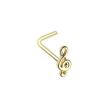 Golden Treble Clef Music Note WildKlass L-Shape Nose Ring