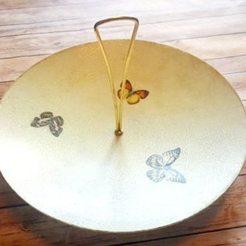 Vintage Fiberglass Serving Tray - Butterfly Design - Gold Stripe - Mid Century Style - Dish Plate Bowl - Gold Handle - Wooden Base