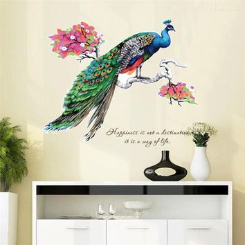 Chinese Style Peacock Wall Decoration Removable Wall Stickers