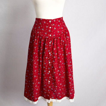 Sweet Vintage 80's Red Calico Prairie Skirt Yoke Waist Button Front Eyelet Trim