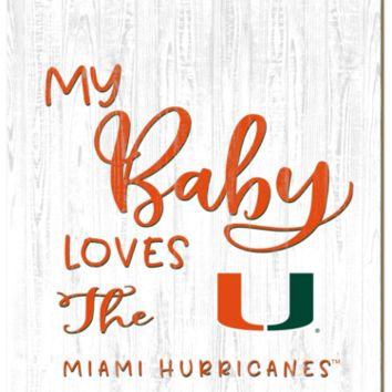 Miami Hurricanes | My Baby Loves | Sign | Wood | Rope Hanger | NCAA