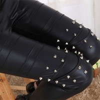 2017 girl punk leather legging immitation gothic patchwork rivet nine Leggings female fitted fake leather pants club bar-in Leggings from Women's Clothing & Accessories on Aliexpress.com | Alibaba Group