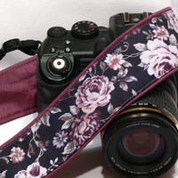 Purple Roses Camera Strap. Canon Nikon Camera Strap. Photo Camera Accessories