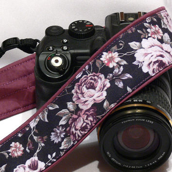 Roses Camera Strap, Floral Camera Strap, Black Purple Camera Strap, Nikon, Canon Camera Strap, Women Accessories