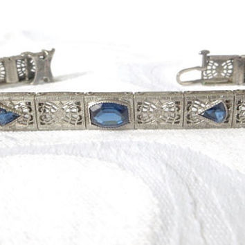 Antique Art Deco Bracelet, Sterling Sapphire Bracelet, 1920's, Filigree Panels, Art Deco Jewelry, Signed