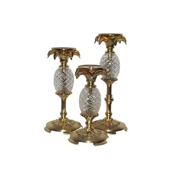 Pre-owned Pineapple Candle Holders - Set of 3