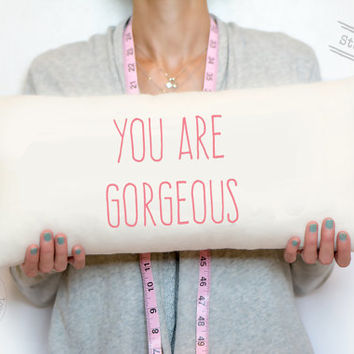 You are gorgeous, cotton personalized pillow, cotton custom pillow, pink, amatics font, gift for her, personalized gift, gift for ALL