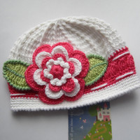 Crochet Girls HatWhite Hat with Flower Crochet Baby by MILAVIKIDS