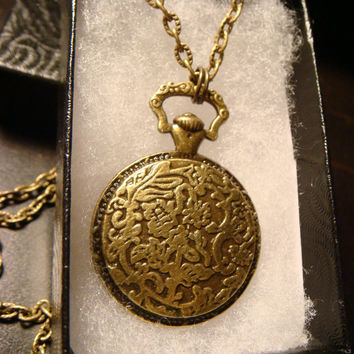 Steampunk  Pocket Watch with a Bee over a Watch Part Gear Pendant Necklace (1859)