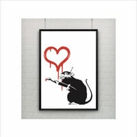 Love Rat by Banksy Print / Graffiti Art / US Letter-A4 up to A0 size / Street Art / Wall Art / Provocative Humor / Contemporary Room Decor