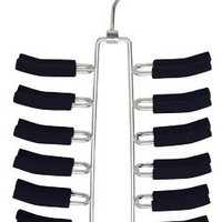 """Friction Tie Rack and Scarf Hanger - Non-slip - Set of 2 (Black/Chrome) (11 1/2""""H x 6 1/2""""W)"""