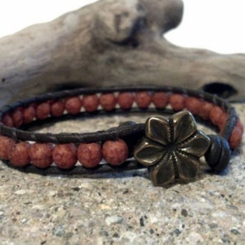 Pink Coral Beaded Leather Wrap Bracelet, Friendship Stack Bracelet, Chan Luu Inspired, PZW066
