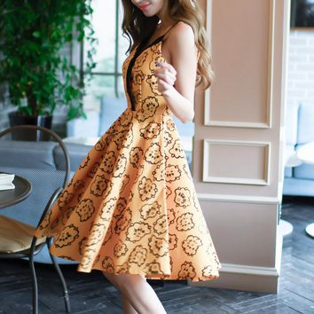 Fashion Sexy straps print splicing backless dress